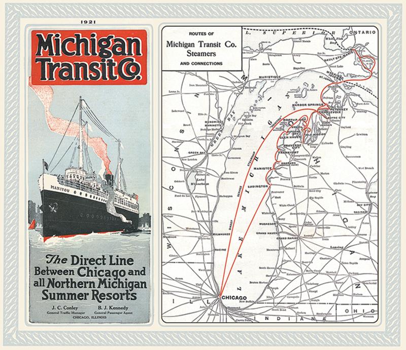 Vintage Poster of Michigan Lake Cruise Transit