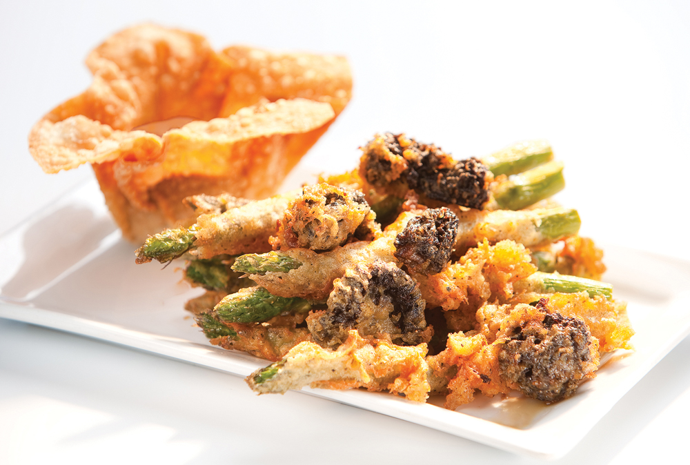 Tempura Asparagus & Morels with Smoky Tomato Coulis