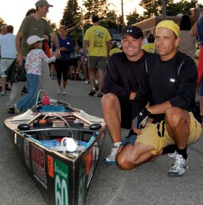 Teammates Tom Trudgeon and Mark Bialek