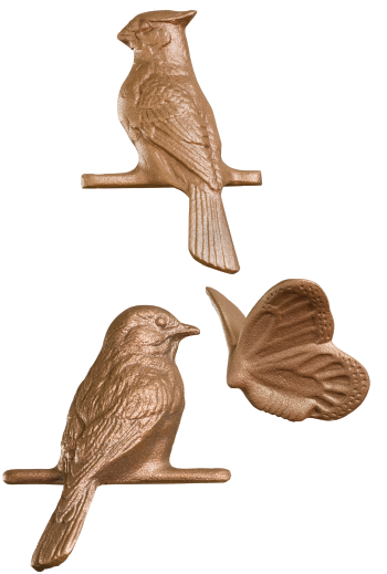 Cast Decorative Birds and Butterfly