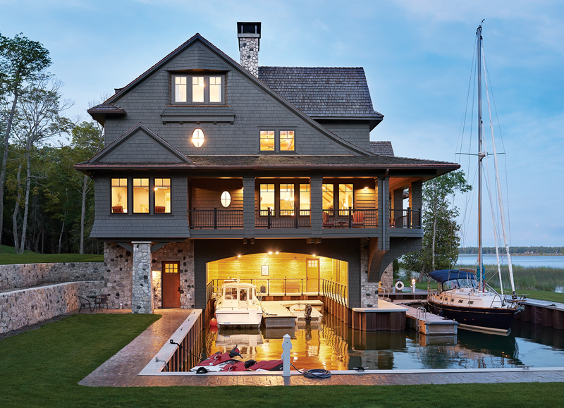 Island home constructed above the boathouse.