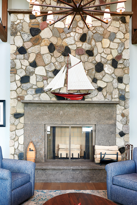 A stone fireplace was built in the great room.