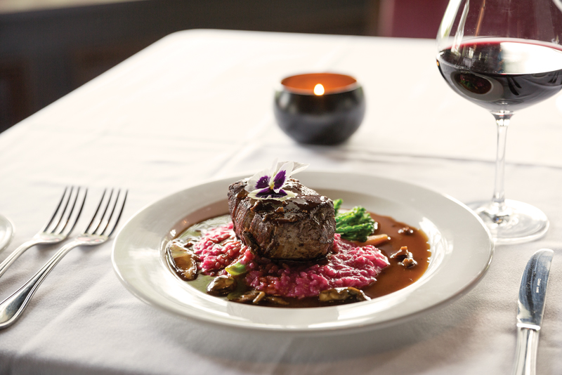 Filet with beet risotto and broccoli and carrot demi