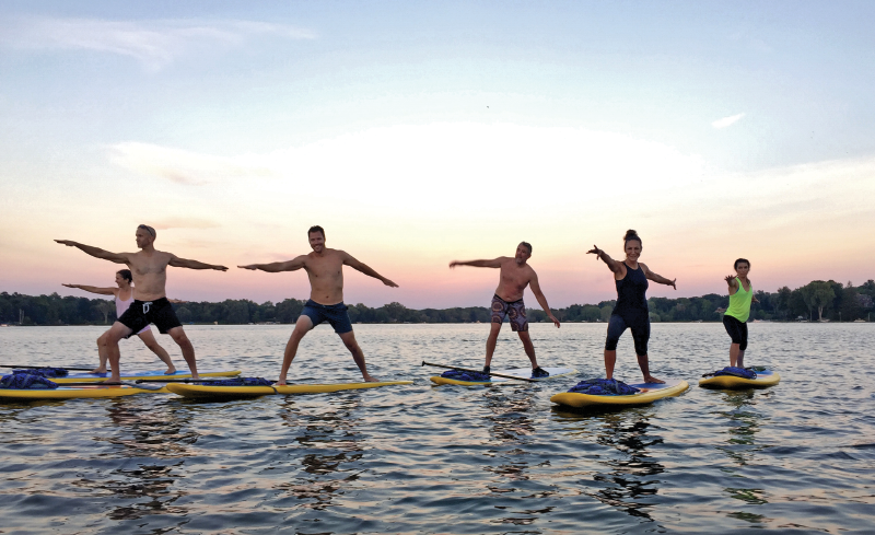 Yoga group on the water