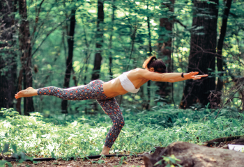 Yoga pose in the woods