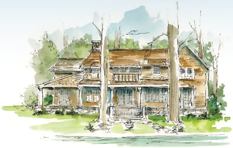 Glen Lake illustration - house