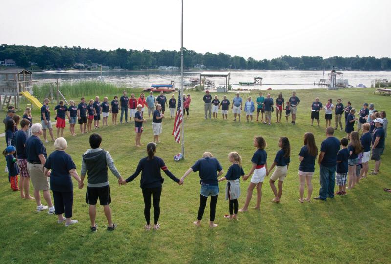 Gathering around flagpole