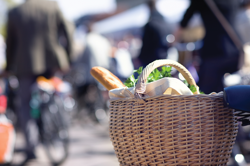 Bike with food basket