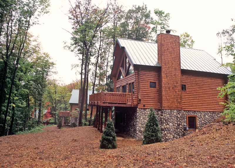 Mountain Cabins at Boyne Mountain Resort covered in leaves