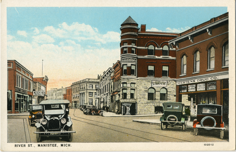River Street Manistee Historical Postcard