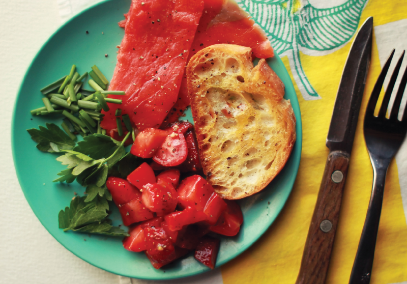 Salmon & Strawberry Salsa Crostini