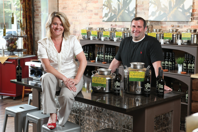Old World Olive Press Owners in Store