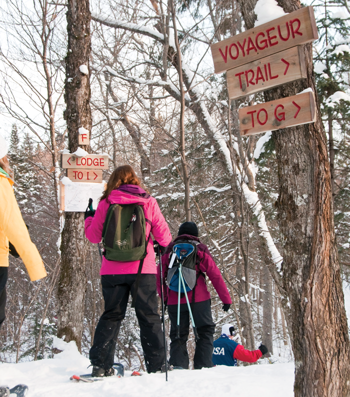 Snowshoes allow hikers to explore packed, snowy trails and to go off trail to explore the woods and create their own trail in deep snow.