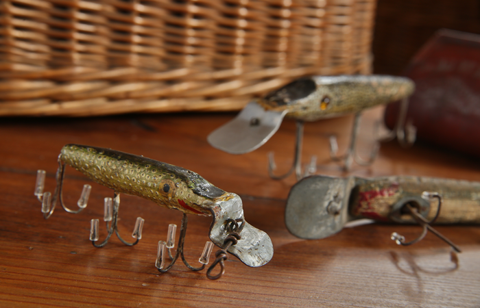 An assortment of pikie-style lures made by Fred Phillips, of Blanchard, in the 1930s.