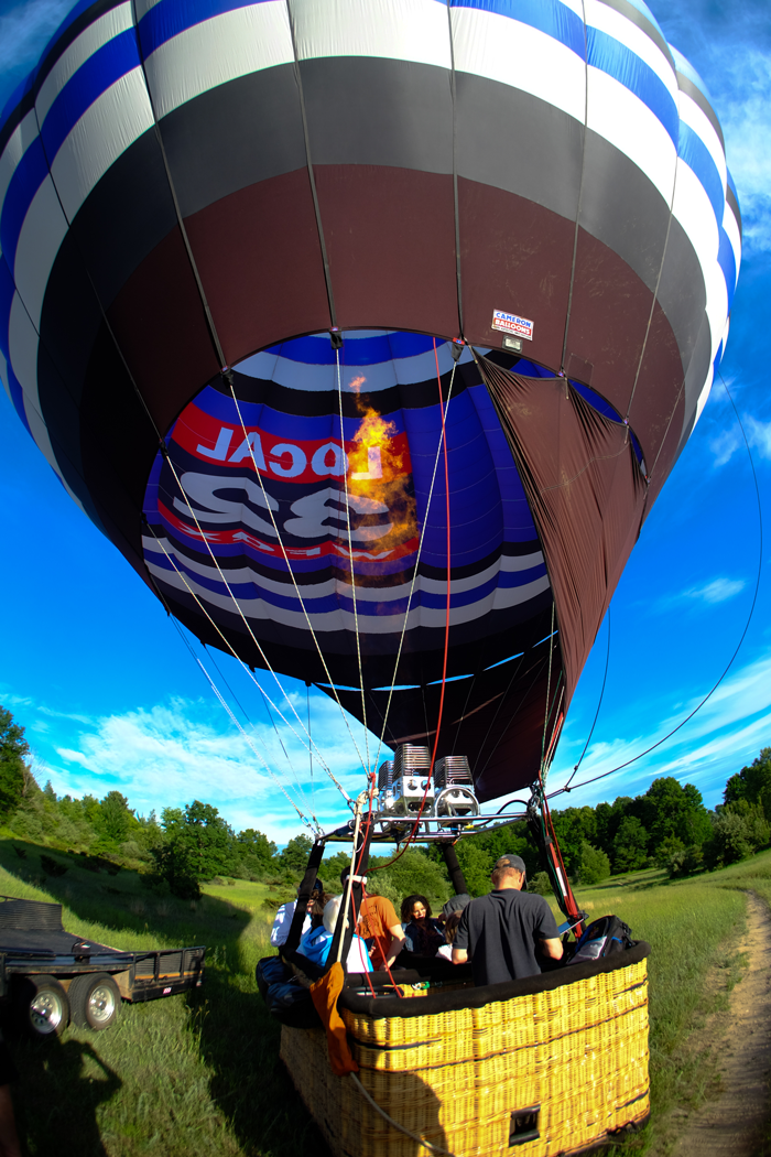 Launching requires filling the balloon with hot air.