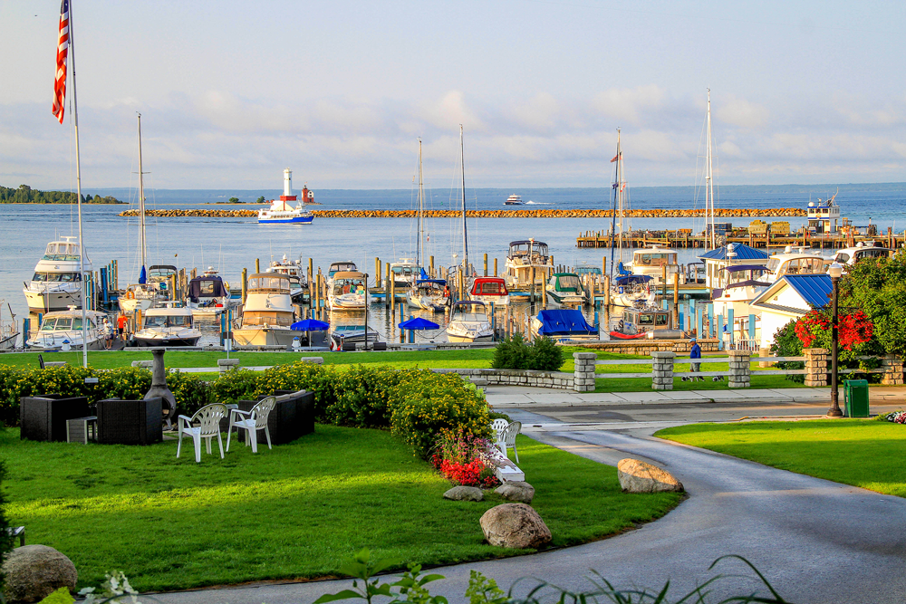 The views from the Island House Hotel look over the harbor and the Mackinac Straits.