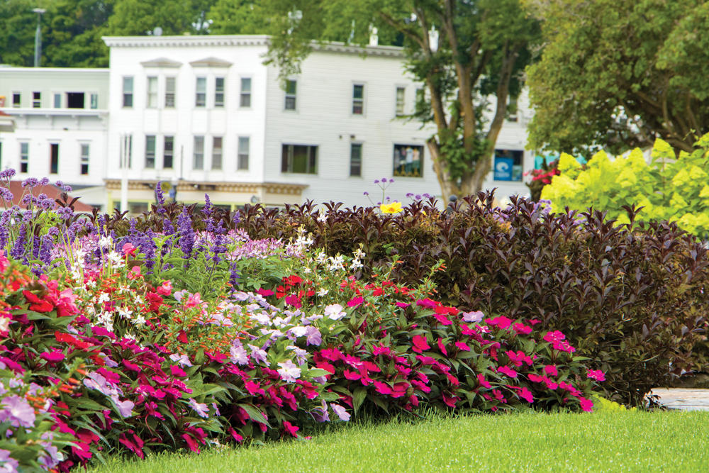 Flowers bloom in a border garden at Brigadoon Cottage with Doud's Market in the background.