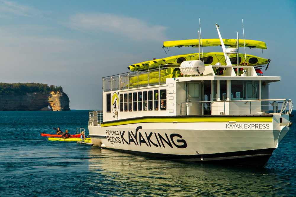 The new Kayak Express shuttle is able to launch or retrieve two kayaks at a time on open water.