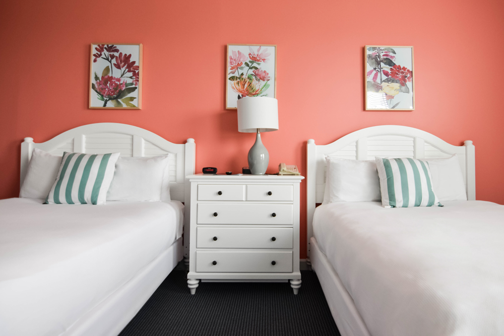 Bedrooms reflect the new color schemes that were adopted in its recent makeover.